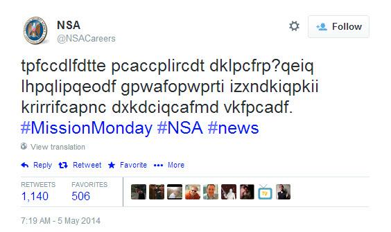 NSA Encrypted Tweet