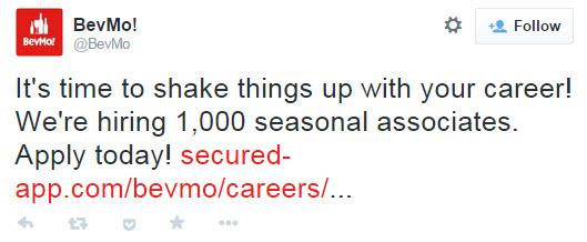 BevMo holidays open jobs tweet