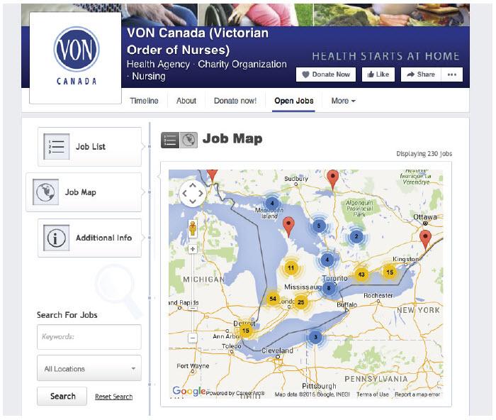 VON Facebook Careers Tab