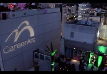 CareerArc logo in light displayed on the side of the W Hotel Hollywood at EMBARC 2019