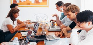 Group os employees working remotely, maintaining morale during a crisis