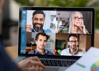 A computer screen during a virtual video conference, where HR leaders are speaking about ways they can keep their workforce engaged during the coronavirus pandemic.
