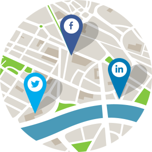 map of streets, river, and various checkpoints to represent planning in social recruiting