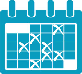 a calendar with days crossed out to represent a post schedule in a social media recruiting strategy
