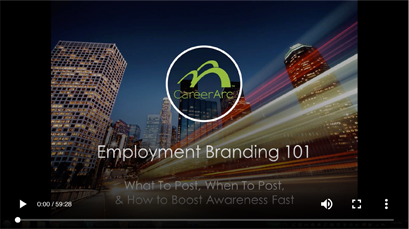 the screenshot of a webinar with the title 'Employment Branding 101'