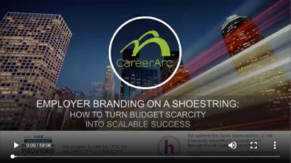 the screenshot of a webinar with the title 'Employment Branding on a Shoestring'