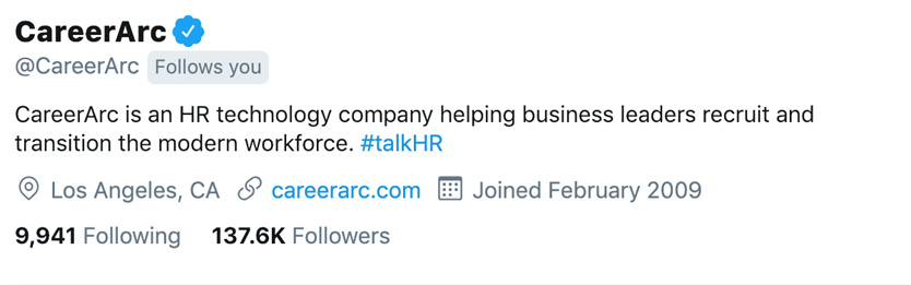 CareerArc social recruitment twitter bio description