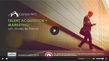 an advertisement for a webinar with the title Talent Acquisition and Marketing: Let's (finally) Be Friends!
